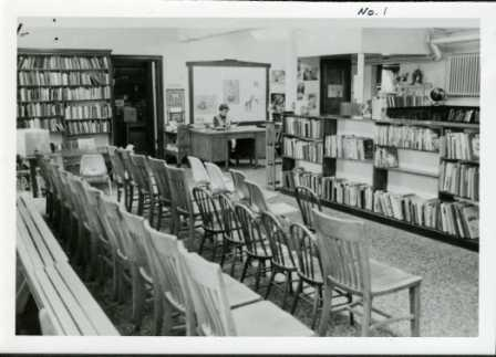 Interior of library before addition.