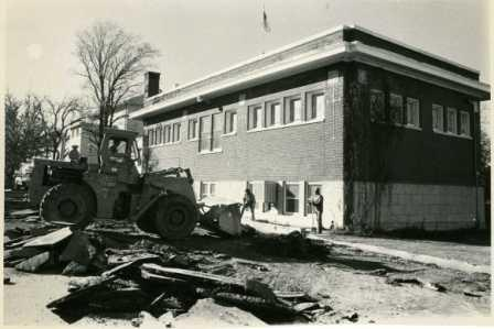 Beginning of construction for the library addition - 9 November 1977.